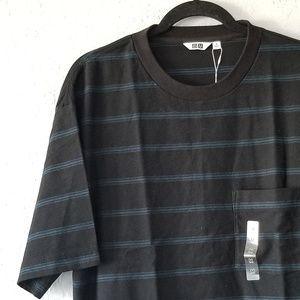 Uniqlo U Black/Navy Striped T-Shirt Medium NWT